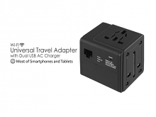 Wi-Fi Universal Travel Adapter with Dual USB AC Charger