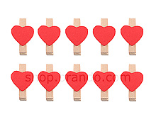 Wooden Clip (Hearts)
