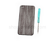 iPhone 4S Metallic Silver Wood Grain Soft Rear Panel