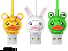 3D Cute Animal Head Lightning Cable
