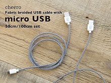 Cheero Fabric Braided microUSB Cable (50cm + 100cm)