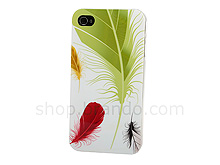 iPhone 4 Colorful Feathers Back Case