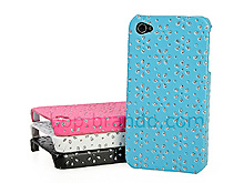 iPhone 4 Glittery Floral Embossed Back Case