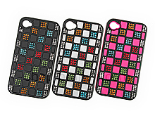 iPhone 4 Square Patterned Back Case With Crystal