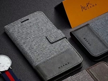 Nokia 6 (2018) Canvas Leather Flip Card Case