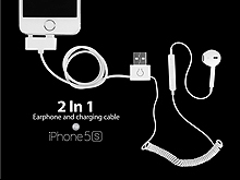 2 in 1 Earphone and charging cable for iPhone 5s