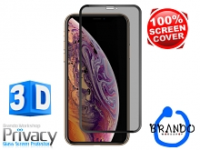 Brando Workshop Full Screen Coverage Curved Privacy Glass Screen Protector (iPhone XS Max (6.5)) - Black