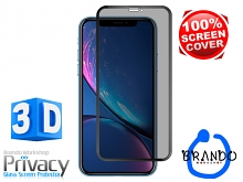 Brando Workshop Full Screen Coverage Curved Privacy Glass Screen Protector (iPhone XR (6.1)) - Black