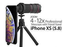 Professional iPhone XS (5.8) 4-12x Zoom Telescope with Tripod Stand