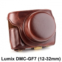 Panasonic Lumix DMC-GF7 (12-32mm) Premium Protective Leather Case with Leather Strap