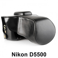 Nikon D5500 (18-105mm) Leather Camera Case with Flash Cover