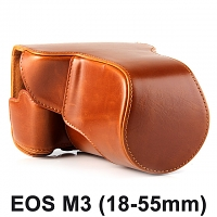 Canon EOS M3 (18-55mm) Premium Protective Leather Case with Leather Strap