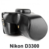 Nikon D3300 Leather Camera Case with Flash Cover