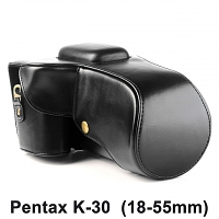 Pentax K-30 (18-55mm) Leather Camera Case with Flash Cover