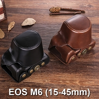 Canon EOS M6 (15-45mm) Premium Protective Leather Case with Leather Strap