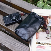 Camera Insert Storage Pocket Leather Pouch (S Size)