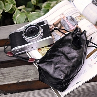 Camera Insert Storage Pocket Leather Pouch (M Size)