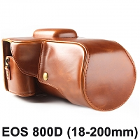 Canon EOS 800D (18-200mm) Leather Camera Case with Flash Cover