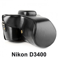 Nikon D3400 Leather Camera Case with Flash Cover