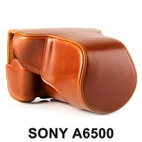 SONY A6500 Premium Protective Leather Case with Leather Strap