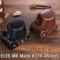 Canon EOS M6 Mark II (15-45mm) Leather Case with Leather Strap