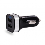 Portable Dual USB Car Charger W/ Lightning to USB Cable