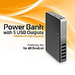 Power Bank w/ 5 USB Outputs (11000mAh)