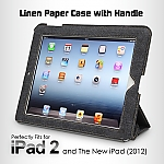 Linen Paper Case with Handle for The new iPad (2012) / iPad 2
