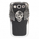 Samsung Galaxy S III I9300 Bling-Bling Skull Wings Back Case with Metallic Lining