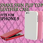 iPhone 5 / 5s / SE Snake Skin Flip Top Leather Case