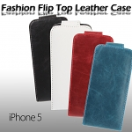 iPhone 5 / 5s Fashionable Flip Top Leather Case