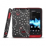 Sony Xperia Tipo ST21i Glittery Leaf Embossed Back Case