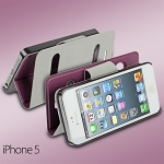 iPhone 5 / 5s / SE Ultra Slim Side Open Leather Case With Display Caller ID And Answer Call
