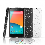 Google Nexus 5 Glittery Leaf Embossed Back Case