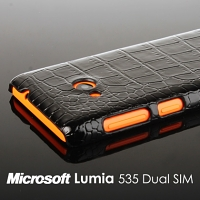 Microsoft Lumia 535 Dual SIM Crocodile Leather Back Case