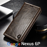 Google Nexus 6P Magnetic Flip Leather Wallet Case