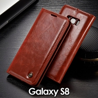 Samsung Galaxy S8 Magnetic Flip Leather Wallet Case