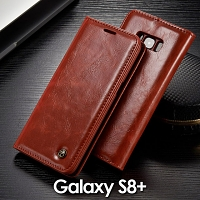 Samsung Galaxy S8+ Magnetic Flip Leather Wallet Case