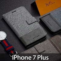 iPhone 7 Plus Canvas Leather Flip Card Case