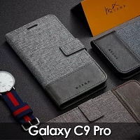Samsung Galaxy C9 Pro Canvas Leather Flip Card Case