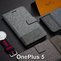OnePlus 5 Canvas Leather Flip Card Case