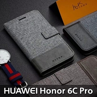 Huawei Honor 6C Pro Canvas Leather Flip Card Case