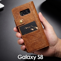 Samsung Galaxy S8 Coarse Crack Slim Wallet Leather Case