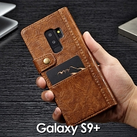 Samsung Galaxy S9+ Coarse Crack Slim Wallet Leather Case