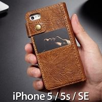 iPhone 5 / 5s / SE Coarse Crack Slim Wallet Leather Case