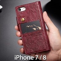 iPhone 7 / 8 Coarse Crack Slim Wallet Leather Case