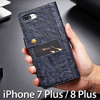 iPhone 7 Plus / 8 Plus Coarse Crack Slim Wallet Leather Case