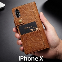 iPhone X Coarse Crack Slim Wallet Leather Case