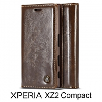 Sony Xperia XZ2 Compact Magnetic Flip Leather Wallet Case