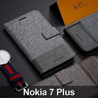 Nokia 7 Plus Canvas Leather Flip Card Case